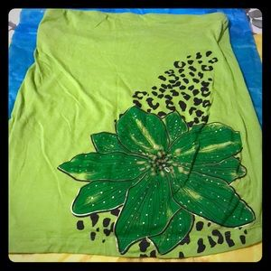 Rue21 Lime Green Leopard with Flower Tube Top XL